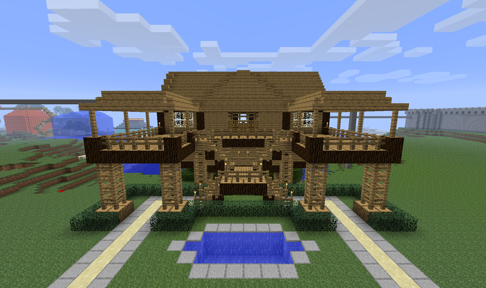 Stilt House Front View With Water Pond Backslashdotcom
