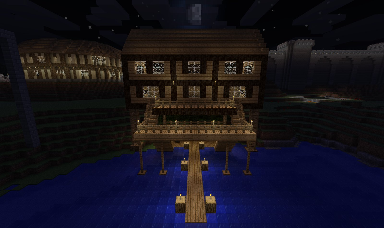 Stilt House Lake View At Night Backslashdotcom S Creative Server Creations Gallery Muttsworld